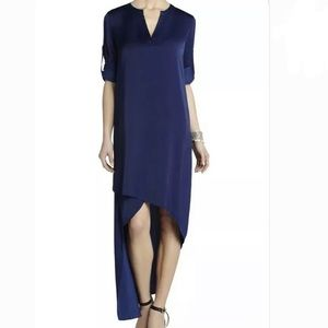 BCBG Max Azria Womens Blue Asymmetric Maxi Dress